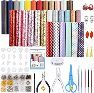 PP OPOUNT 30 Pieces Leather Earring Making Kit Include Instructions, 5 Style Faux Leather Sheet, Leather Earring Cut Molds and Complete Tools for Earrings Making Crafts