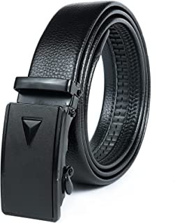 Rizoro Auto Lock Grip Leather Black Leather Belt For Men Formal Gifting Gift Set (GRPBLK, Waist Upto -42 Inches)