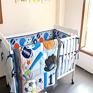 BabyCrib Unique Cute Adorable, All Sports, Blue and Navy, 10 Piece Bedding Set, Including Crib Bumper, Diaper Stacker, and Bonus Baby Monthly Milestone Blanket for Newborn Baby Boy.