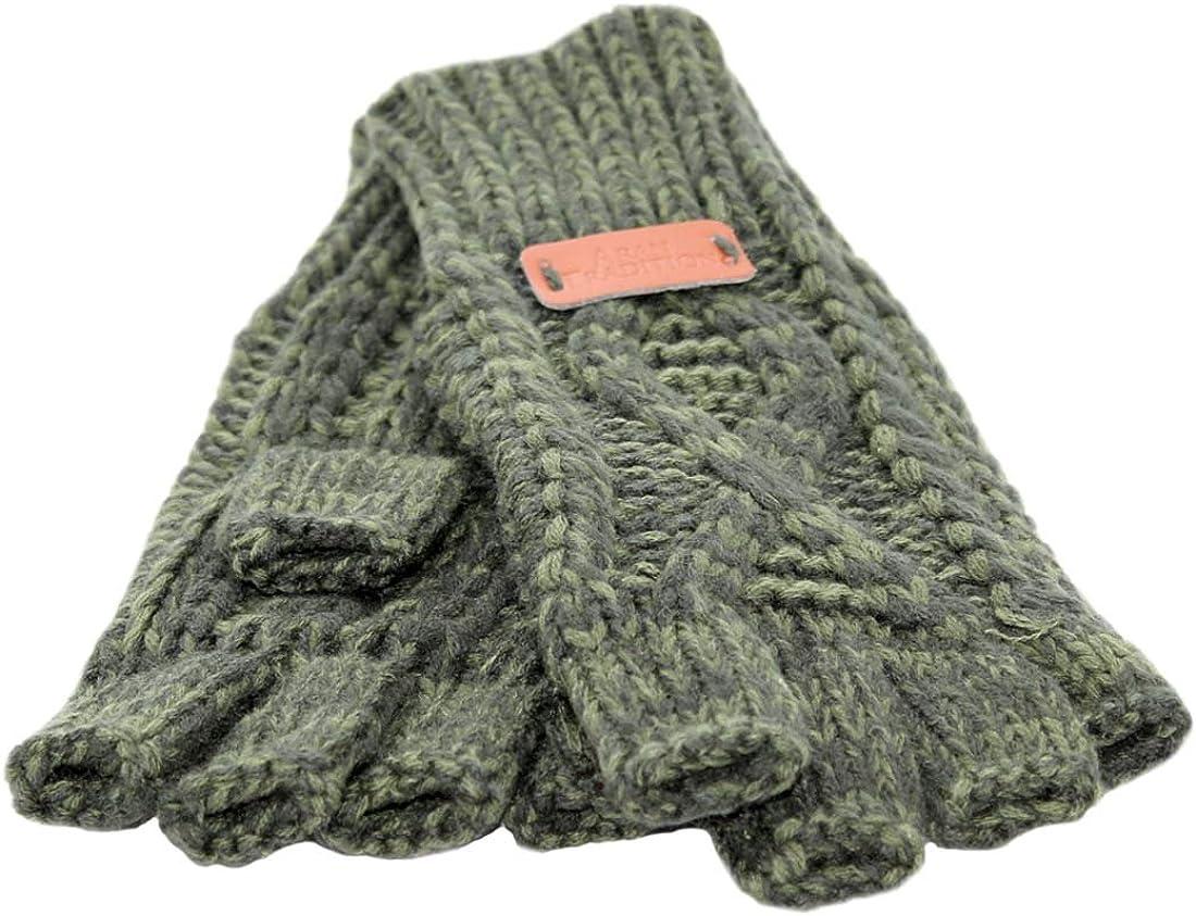 Knit Style Aran Cable Dark Green Fingerless Gloves