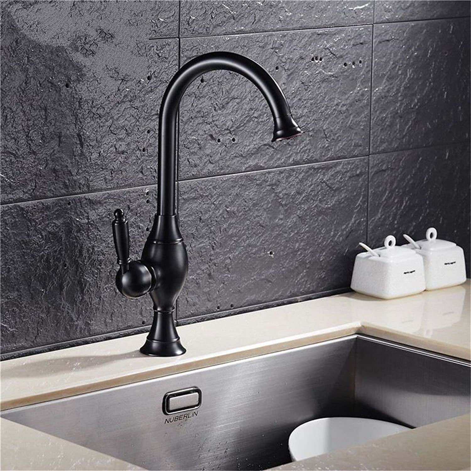 Commercial Single Lever Pull Down Kitchen Sink Faucet Brass Constructed Polished European Retro Copper Paint Hot and Cold Kitchen Sink Faucet Sink Faucet