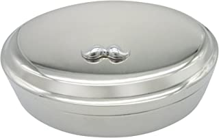 Hipster Mustache Pendant Oval Trinket Jewelry Box