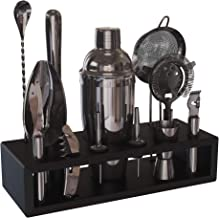 Highball & Chaser Gunmetal Plated Bartender Kit with Espresso Bamboo Stand. Beautiful Cobbler Cocktail Shaker Set with Bar...