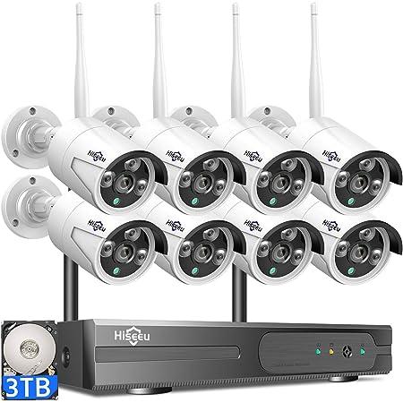 【3TB HDD Pre-Install 】 Hiseeu Wireless Security Camera System 8 CH NVR 8Pcs HD 2K Indoor/Outdoor WiFi Surveillance Camera Wireless IR 1080P Bullet Camera Waterproof, Motion Alert, Remote Access