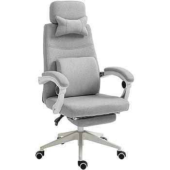 Fauteuil de bureau grand confort dossier réglable repose pied roulettes 360° lin 61 x 57 x 127 cm gris