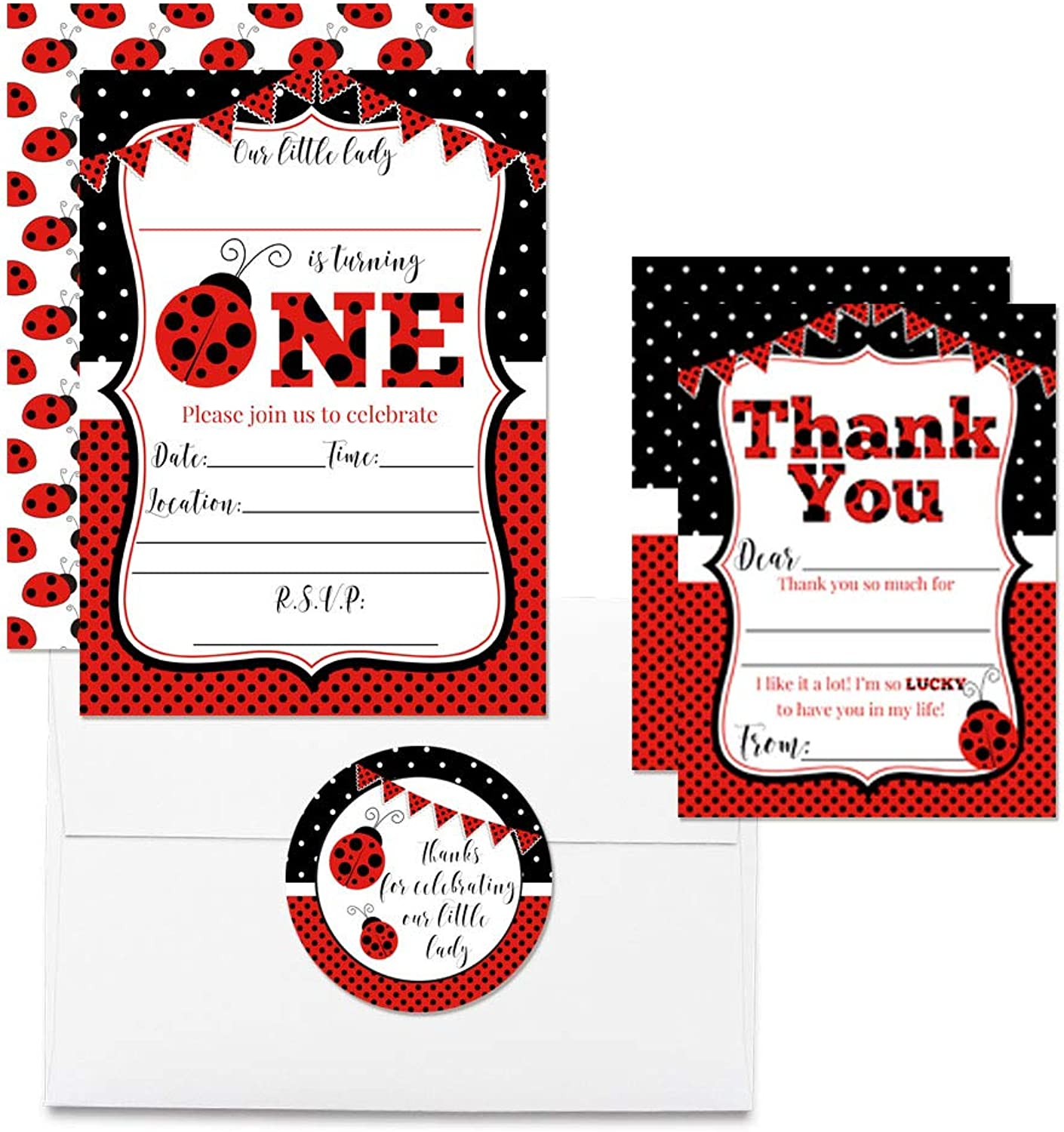 Deluxe Red Ladybug First Birthday Party Bundle for Girls, Includes 20 Each of 5 x7  Fill-in Invitation Cards, Thank You Cards, Thank You Party Favor Stickers and Envelopes