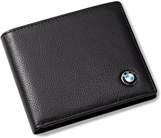 BMW Bifold Leather Black Wallet with 3 Credit Card Slots and ID Window