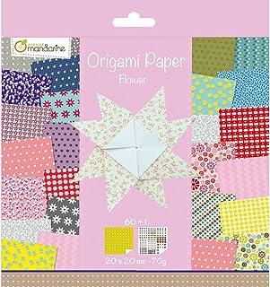 Avenue Mandarine 52507O - Un paquet de 60 feuilles Origami 20x20 cm 70G (30 motifs x 2 feuilles) et une planche de sticker...