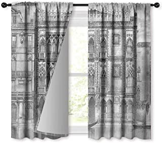 NUOMANAN Insulating Blackout Curtains,Antique Engraving of Grand Canal,Drapes Thermal Insulated Panels Home décor,63 x 72 inch