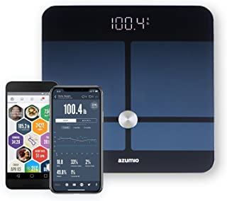 Azumio Bluetooth Digital Smart Scale for Body Weight | 6mm Tempered Glass LED Display Measures Body