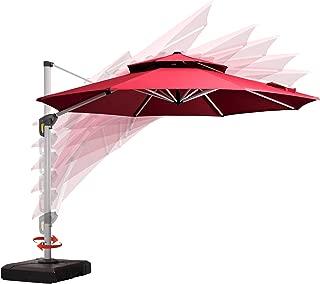 PURPLE LEAF 11 Feet Double Top Round Deluxe Patio Umbrella Offset Hanging Umbrella Outdoor Market Umbrella Garden Umbrella, Burgundy
