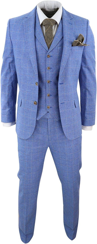HARRY BROWN Mens Light Blue Check 3 Piece Suit Slim Fit Summer Linen Wedding Short Reg Long