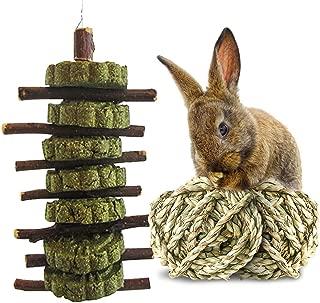 Bunny Chew Toys,Rabbit Chewing Toys For Teeth,Chinchillas Treats,Guinea Pig Snacks,Natural Organic Apple Wood Sticks,1-Handmade Timothy Grass Cake,2-Grass Ball