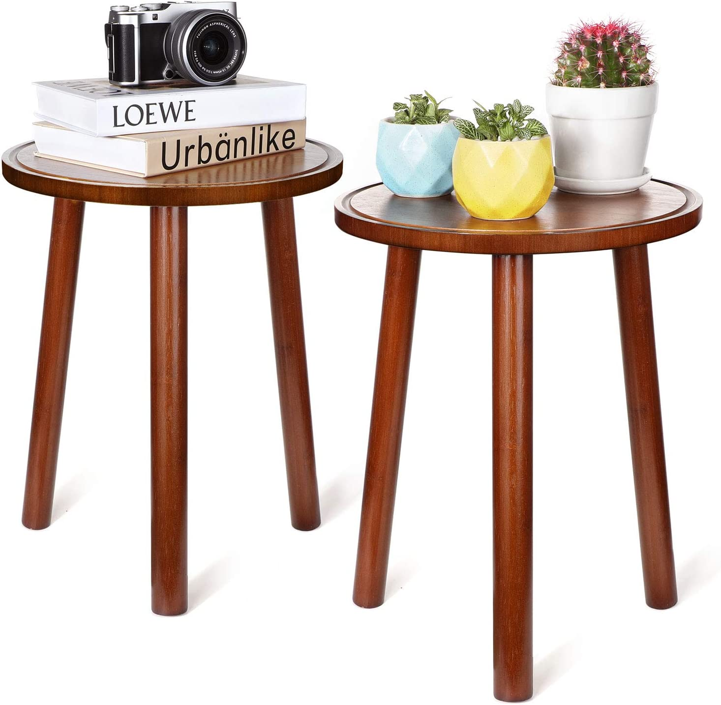 Mudeela Plant Stands for Indoor Plants, 2 Pack Bamboo Plant Stands, 16.5