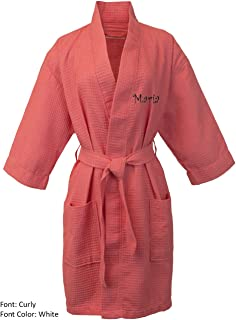 BC BARE COTTON Personalized Name Custom Thigh Lenght Waffle Kimono Robe - Coral - One Size