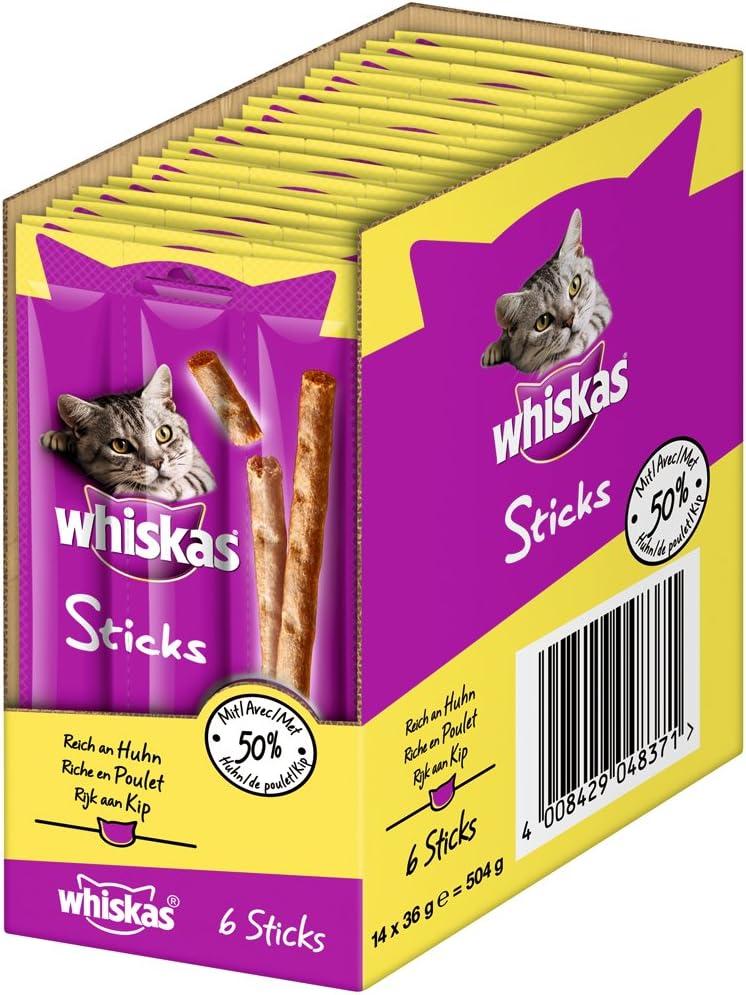 Whiskas - Aperitivo para Gatos en palitos, con Diferentes sabores, una Experiencia de Sabor Irresistible, Muchas vitaminas y minerales