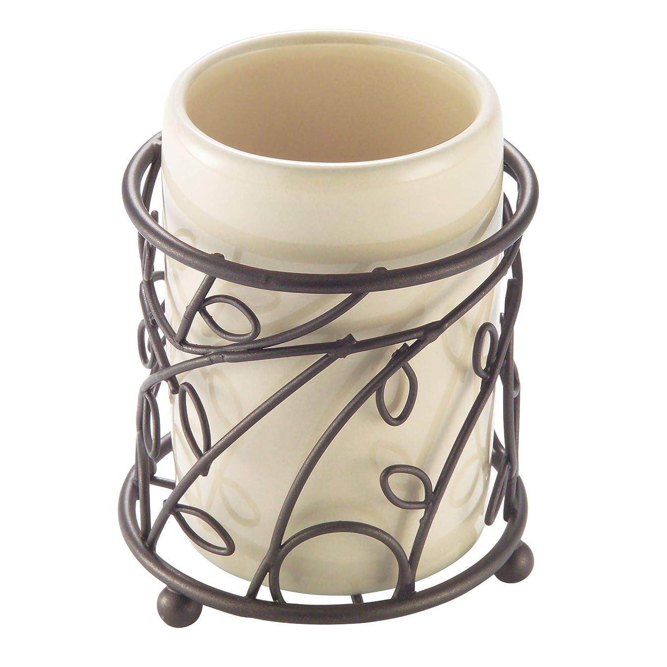 interDesign 76591 Twigz Bath, Tumbler Cup for Bathroom Vanity Countertops - Vanilla/Bronze