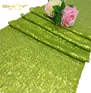 ShinyBeauty Sequin Table Runners 108 inches Lime Green Wedding Decorations 12in by 108in Pack of 5 Baby Shower Decorations in Lime Green Table Runner for Party Bridal Shower Decorations M1217