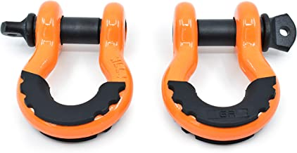 (2PK) GearAmerica Heavy Duty D Ring Shackles Orange | 58,000 lbs (29 US Ton) Max Strength | 3/4