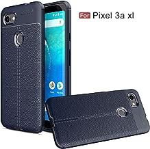 Google Pixel 3a XL Case,Google Pixel 3 Lite XL Case,Bettop Anti-Fingerprint Shockproof Anti-Slip Flexible Soft TPU Unique PU Leather Texture Case for Pixel 3a XL (Navy)