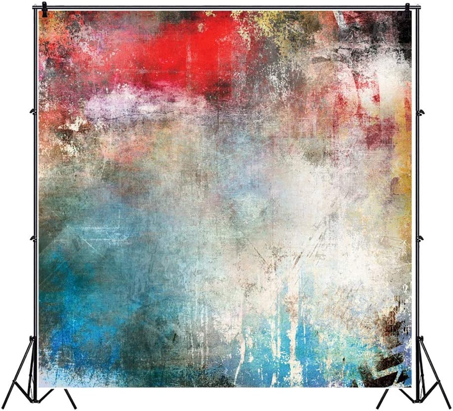Leowefowa Grunge Dirty Mottled Colorful Wall Backdrop Vinyl 6x6ft Photography Background Child Kids Adult Portrait Shoot Hip Hop 80 90s Themed Party Photo Booth Studio Photo Props Wallpaper