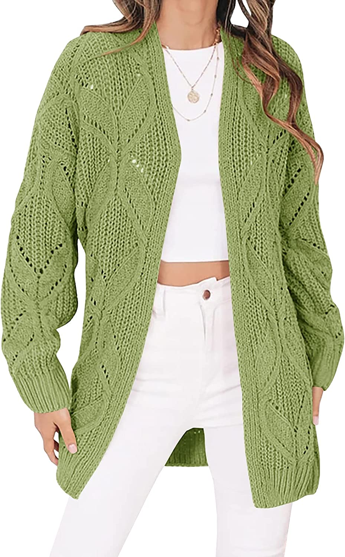 Tymidy Women's Crochet Cardigan Sweater Kimonos Boho Long Sleeve Open Front Chunky Cable Knit Shrugs Oversized Outwear