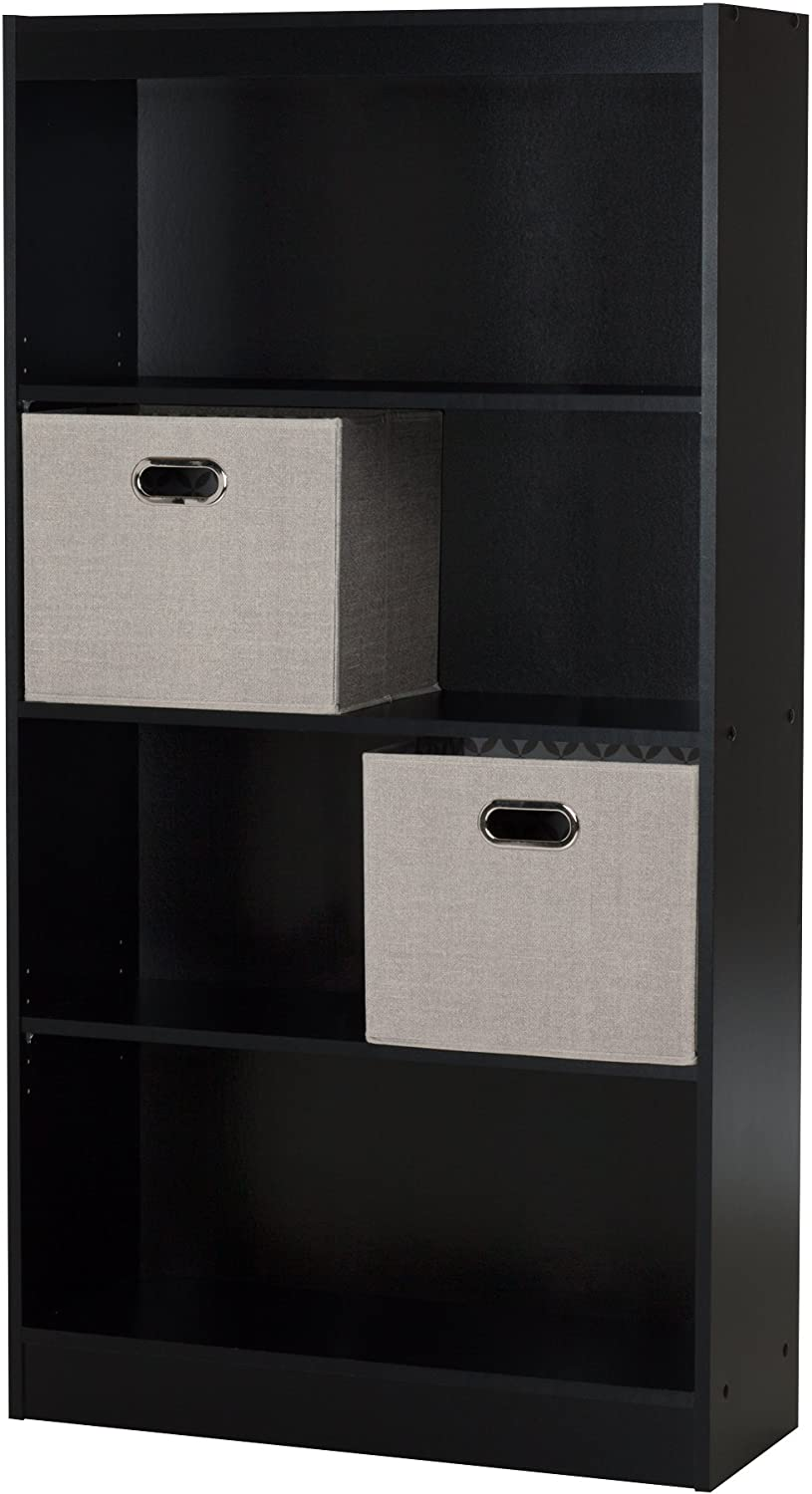 South Shore Furniture Axess 4-Shelf Bookcase with 2 Fabric Storage Baskets, Pure Black