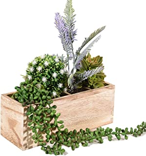 Wood Planter Box, Rectangular Rustic Wood Planter with 3 Removable Liner, Indoor and Garden Window Box, Succulent and Floral Arrangements, Wedding Decor - 10.1