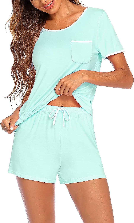 Ekouaer Womens Pajamas Sets Short Sleeve Sleepwear Soft Pj Shorts and Tops Nightwear