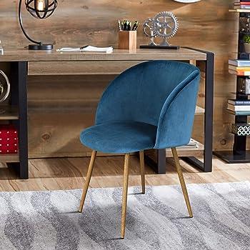 FurnitureR Juego de 2 sillas de comedor para cocina, sillas laterales modernas de mediados de siglo, silla de comedor tapizada de terciopelo con patas de metal Azul Silla de oficina en casa (No incluye mesa)