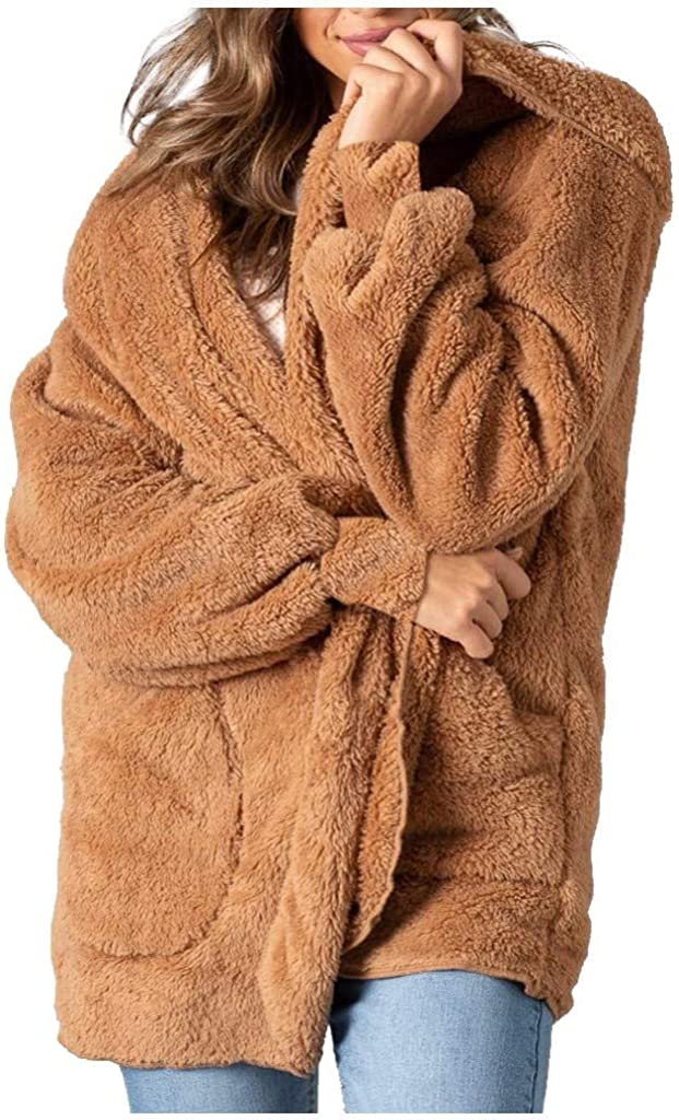Women Winter Coat,Faux-Fur Shaggy Coat Long Sleeve Open Front Outwear Hooded Jacket,Vintage Clothes Jacket