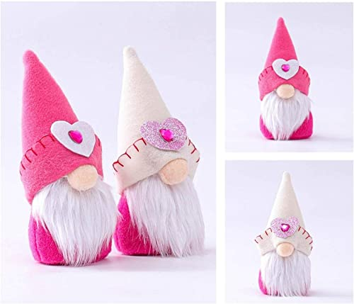 high quality OPTIMISTIC sale 2 PCS Valentines Day Decoration Mini Gnome Plush Doll Decor Mr and Mrs Gnome Couples Toy Handmade Scandinavian Tomte Romantic Ornament Lucky Doll That Witnesses Love discount On Valentines Day sale