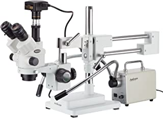 AmScope 7X-45X Simul-Focal Stereo Zoom Microscope with 30W LED Illuminator and 16MP USB3 Camera