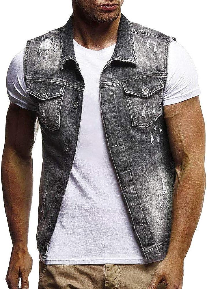 MODOQO Men's Denim Jacket Vest Sleeveless Button Vintage Summer Tank Tops Waistcoat