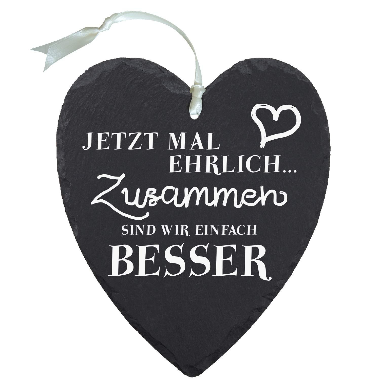 Pizarra corazón – Ahora vez honesto: pizarra decorativa corazón con grabado – pizarra vintage grande como regalo para