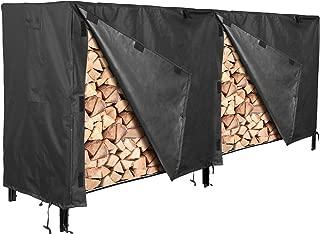 femor Log Rack Cover, 8 Feet 600D Heavy Duty Waterproof Patio Outdoor Firewood Rack Cover, Black