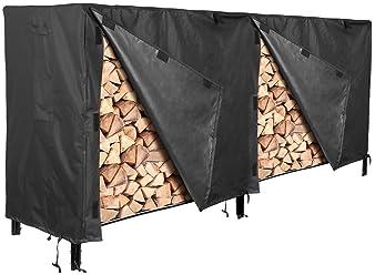 Black NEW Superior Waterproof Outdoor Patio Firewood Log Rack Cover 8-Feet