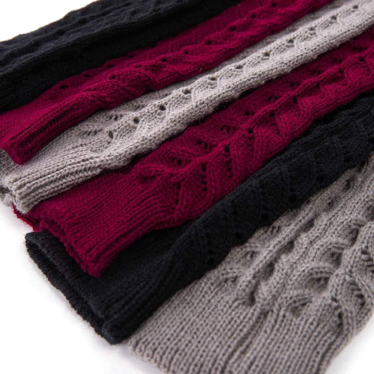 Borlai 1 paio di scaldamuscoli da donna in maglia casual al ginocchio sopra calze calde
