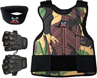 Maddog Sports Padded Chest Protector, Tactical Half Glove, Neck Protector Combo Package