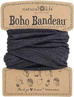 Natural Life Women's Boho Bandeau Headbands Hair Band Balaclava Face Mask Headwrap Hair Accessories One Size (Heathered Charcoal)