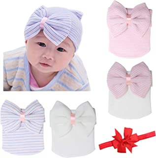 BQUBO Newborn Baby Caps Mittens for Baby Girls Set Hospital Hat Beanie Infant Hats with bow Baby Scratch Mitten Gloves