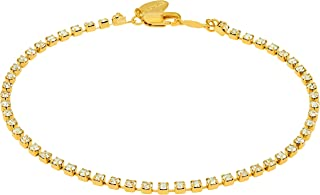 Ankle Bracelet [ 24k Gold Plated Iced Out Cubic Zirconia Anklet ] Durable Tennis Bracelet for Women & Teen Girls - Cute CZ Charm with Free Lifetime Replacement Guarantee 9 10 11 inch