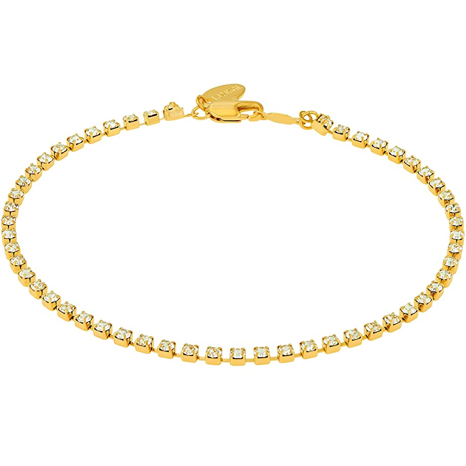 Lifetime Jewelry Ankle Bracelet [ 24k Gold Plated Iced Out Cubic Zirconia Anklet ] Durable Tennis Bracelet for Women & Teen Girls - Cute CZ Charm with Free Lifetime Replacement Guarantee 9'' 10'' 11''