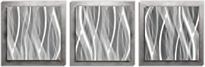 Metal Art Studio L0153 Essence Multi-panel layered metal wall sculpture, Medium, Silver