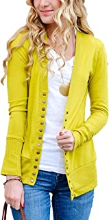 JNTOP Women's Soft V-Neck Long Sleeve Button Down Knitwear Basic Knit Snap Cardigan Sweater