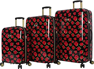 BETSEY JOHNSON Covered Rosed 3 Piece Hardside Spinner Luggage Set (Covered