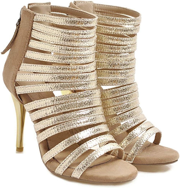 YuJi Summer Gladiator Sandals WomenZipper Thin High Heel Party shoes Bling Open Toe Sandals