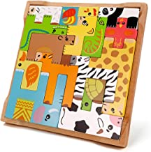 Animal Tetris Wooden Puzzle Toys Animal Learning Educational Blocks Stack Shapes Brain Teasers 3D Russian Blocks Game 3D Blocks Wooden Puzzle Toy Intelligence Toys for Kids for Baby Boys Girls