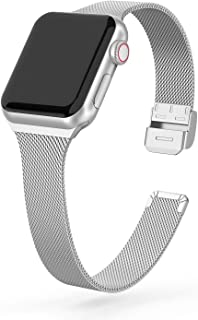 SWEES Metal Band Compatible with Apple Watch 38mm 40mm, Stainless Steel Narrow Small Thin Replacement Compatible for iWatch Series 5/4/3/2/1 Sport Edition Women, Black, Champagne, Silver, Rose Gold