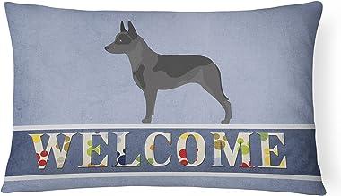 Caroline's Treasures BB8289PW1216 Australian Cattle Dog Welcome Canvas Fabric Decorative Pillow, 12H x16W, Multicolor
